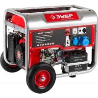 Генератор ЗУБР бензиновый, 4-х тактный, ручной и электрический пуск, колеса + рукоятка, автоматический пуск, 4500/4000Вт, 220/12В ЗЭСБ-4500-ЭНА
