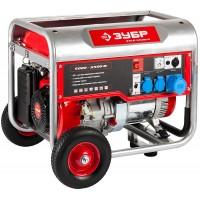 Генератор ЗУБР бензиновый, 4-х тактный, ручной пуск, колеса + рукоятка, 5500/5000Вт, 220/12В ЗЭСБ-5500-Н