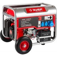 Генератор ЗУБР бензиновый, 4-х тактный, ручной и электрический пуск, колеса + рукоятка, 5500/5000Вт, 220/12В ЗЭСБ-5500-ЭН