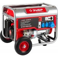 Генератор ЗУБР бензиновый, 4-х тактный, ручной пуск, колеса + рукоятка, 6200/5700Вт, 220/12В ЗЭСБ-6200-Н