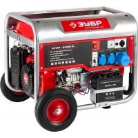Генератор ЗУБР бензиновый, 4-х тактный, ручной и электрический пуск, колеса + рукоятка, 6200/5700Вт, 220/12В ЗЭСБ-6200-ЭН