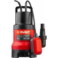"""Насос ЗУБР """"МАСТЕР"""" М1 погружной дренажный для грязной воды (d частиц до 35 мм), 750 Вт, пропускная способность 225 л/мин, напор 9,0 м, с поплавком НПГ-М1-750"""