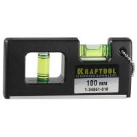 """Уровень KRAFTOOL """"PRO"""" """"МИНИ"""" с магнитом, 2 ампулы, 100мм 1-34861-010"""