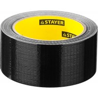 Армированная лента, STAYER Professional 12086-50-25, универсальная, влагостойкая, 48мм х 25м, черная 12086-50-25