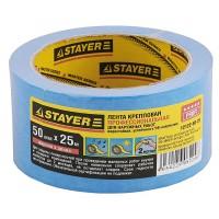 Лента STAYER малярная креповая, водостойкая с УФ-защитой, 50мм х 25м 12122-50-25