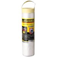 """Пленка STAYER """"PROFESSIONAL"""" защитная с клейкой лентой """"МАСКЕР"""", HDPE, 9мкм, 1,7х15м 12255-170-15"""