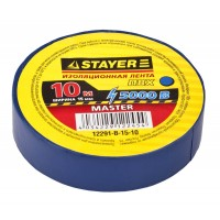 Изолента, STAYER Master 12291-B-15-10, ПВХ, 5000 В, 15мм х 10м, синяя 12291-B-15-10