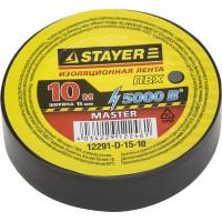 Изолента, STAYER Master 12291-D-15-10, ПВХ, 5000 В, 15мм х 10м, черная 12291-D-15-10