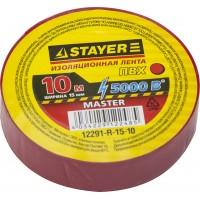 Изолента, STAYER Master 12291-R-15-10, ПВХ, 5000 В, 15мм х 10м, красная 12291-R-15-10