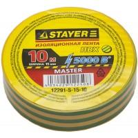 Изолента, STAYER Master 12291-S-15-10, ПВХ, 5000 В, 15мм х 10м, желто-зеленая 12291-S-15-10