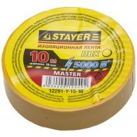 Изолента, STAYER Master 12291-Y-15-10, ПВХ, 5000 В, 15мм х 10м, желтая 12291-Y-15-10