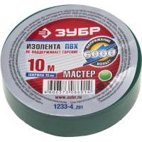 """Изолента ЗУБР """"МАСТЕР"""" зеленая, ПВХ, не поддерживающая горение, 6000 В, 15мм х 10м 1233-4_z01"""
