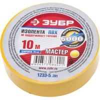"""Изолента ЗУБР """"МАСТЕР"""" желтая, ПВХ, не поддерживающая горение, 6000 В, 15мм х 10м 1233-5_z01"""