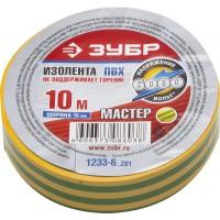 """Изолента ЗУБР """"МАСТЕР"""" желто-зеленая, ПВХ, не поддерживающая горение, 6000 В, 15мм х 10м 1233-6_z01"""