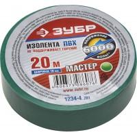 """Изолента ЗУБР """"МАСТЕР"""" зеленая, ПВХ, не поддерживающая горение, 6000 В, 19мм х 20м 1234-4_z01"""