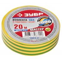 """Изолента ЗУБР """"МАСТЕР"""" желто-зеленая, ПВХ, не поддерживающая горение, 6000 В, 19мм х 20м 1234-6_z01"""