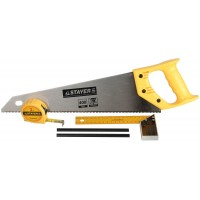 "Набор STAYER ""STANDARD"" для столярных работ: ножовка по дереву 400 мм, угольник 200 мм, рулетка 3 м, 2 карандаша, 5 пред 15084-H5"