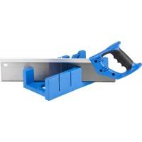 """Стусло ЗУБР """"ЭКСПЕРТ"""" пластиковое + ножовка с двухкомпонентной рукояткой, усиленный обушок, для заготовок до 105х55мм, 3 угла запила, ножовка 400мм 15397"""