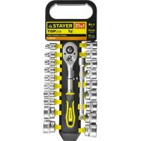 """Набор STAYER """"STANDARD"""": Торцовые головки (3/8"""") на пластиковом рельсе, трещотка, удлинитель, 6-24мм, 21 предмет 27752-H21"""