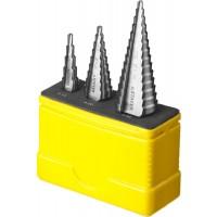 """Набор STAYER """"MASTER"""": Ступенчатые сверла по сталям и цвет.мет., сталь HSS, d=4-12мм,5 ступ. d 4-20 мм 9 ступ., d 4-30мм 14ступ. 29660-4-30-H3"""