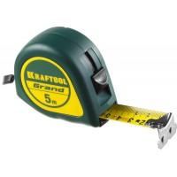 Рулетка KRAFTOOL GRAND, обрезиненный пластиковый корпус, 5м/25мм 34022-05-25