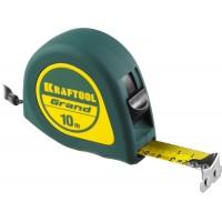 Рулетка KRAFTOOL GRAND, обрезиненный пластиковый корпус, 10м/25мм 34022-10-25