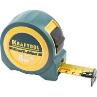 """Рулетка KRAFTOOL """"Kraft-Max"""", длинный вылет, нейлон покрытие, упрочненный двухкомп корпус, 8м/27мм 34127-08-27"""