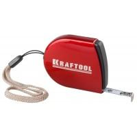 Рулетка KRAFTOOL, компактная, автостоп, цельнометрический корпус, с ремешком, 2мх8мм 34149-02