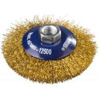 DEXX. Щетка коническая для УШМ, витая стальная латунированная проволока 0,3мм, 100ммхМ14 35105-100