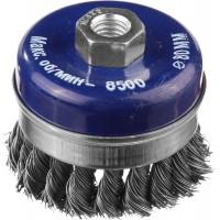 DEXX. Щетка чашечная усиленная для УШМ, жгутированная стальная проволока 0,5мм, 80ммхМ14 35106-080