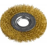 """STAYER """"PROFESSIONAL"""". Щетка дисковая для УШМ, витая стальная латунированная проволока 0,3мм, 100ммх22мм 35122-100"""