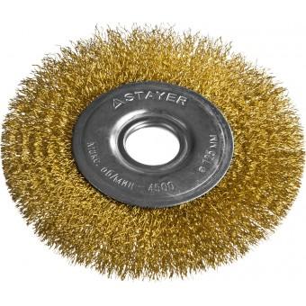 """STAYER """"PROFESSIONAL"""". Щетка дисковая для УШМ, витая стальная латунированная проволока 0,3мм, 125ммх22мм 35122-125"""