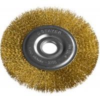"""STAYER """"PROFESSIONAL"""". Щетка дисковая для УШМ, витая стальная латунированная проволока 0,3мм, 150ммх22мм 35122-150"""