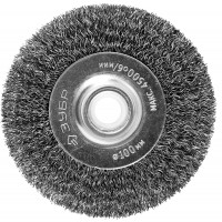 """ЗУБР """"ПРОФЕССИОНАЛ"""". Щетка дисковая для точильно-шлифовального станка, витая стальная проволока 0,3мм, 100х12,7мм 35185-100_z02"""
