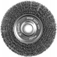 """ЗУБР """"ПРОФЕССИОНАЛ"""". Щетка дисковая для точильно-шлифовального станка, витая стальная проволока 0,3мм, 125х12,7мм 35185-125_z02"""