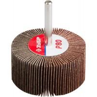 """Круг шлифовальный ЗУБР """"МАСТЕР"""" веерный лепестковый, на шпильке, тип КЛО, зерно-электрокорунд нормальный, P80, 30х60мм 36602-080"""