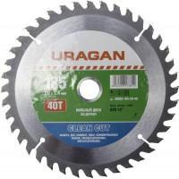 """Диск пильный """"Clean cut"""" по дереву, 185х20мм, 40Т, URAGAN 36802-185-20-40"""