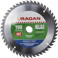 """Диск пильный """"Clean cut"""" по дереву, 190х20мм, 48Т, URAGAN 36802-190-20-48"""