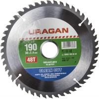 """Диск пильный """"Clean cut"""" по дереву, 190х30мм, 48Т, URAGAN 36802-190-30-48"""