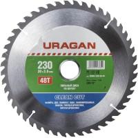"""Диск пильный """"Clean cut"""" по дереву, 230х30мм, 48Т, URAGAN 36802-230-30-48"""