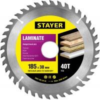 """Пильный диск """"Laminate line"""" для ламината, 185x30, 40T, STAYER 3684-185-30-40"""