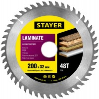 """Пильный диск """"Laminate line"""" для ламината, 200x32, 48T, STAYER 3684-200-32-48"""