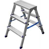 Лестница-стремянка двухсторонняя алюминиевая, СИБИН 38825-03, 3 ступени 38825-03
