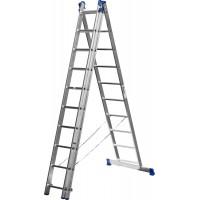 Лестница СИБИН универсальная, трехсекционная со стабилизатором, 10 ступеней 38833-10