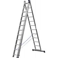 Лестница СИБИН универсальная,трехсекционная со стабилизатором, 12 ступеней 38833-12