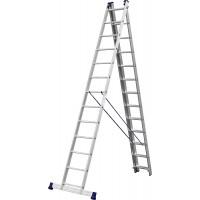 Лестница СИБИН универсальная,трехсекционная со стабилизатором, 13 ступеней 38833-13