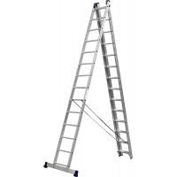 Лестница СИБИН универсальная,трехсекционная со стабилизатором, 14 ступеней 38833-14