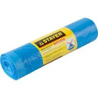 """Мешки для мусора STAYER """"Comfort"""" с завязками, особопрочные, голубые, 120л, 10шт 39155-120"""