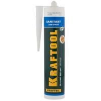 Герметик силиконовый KRAFTOOL белый, санитарный, для помещений с повышенной влажностью, 300мл 41255-0