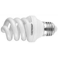 """Энергосберегающая лампа СВЕТОЗАР """"ЭКОНОМ"""" спираль,цоколь E27(стандарт),Т3,теплый белый свет (2700 К), 8000час, 9Вт(45) 44352-09_z01"""